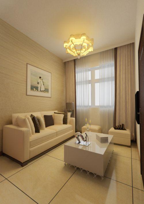 米色系温馨客厅日式装潢效果图欣赏