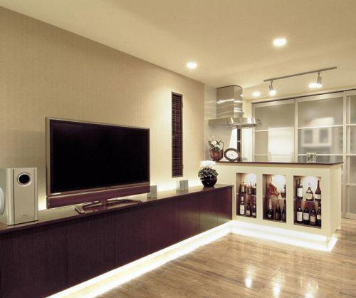 简约明朗韩式风格客厅电视背景墙装修效果图