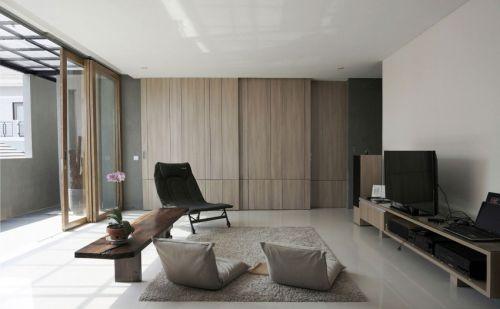 简洁温润日式风格优雅客厅装修实景图