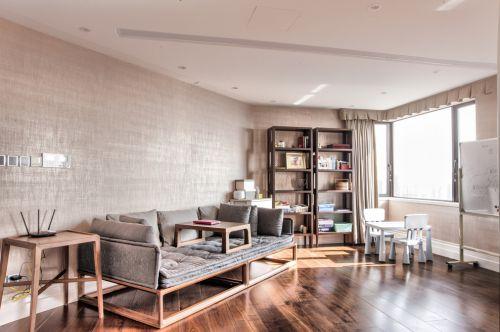 雅致禅意日式风格客厅沙发床效果图