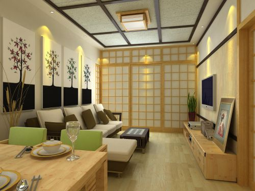 韩式风格二居室客厅吊顶装修效果图大全