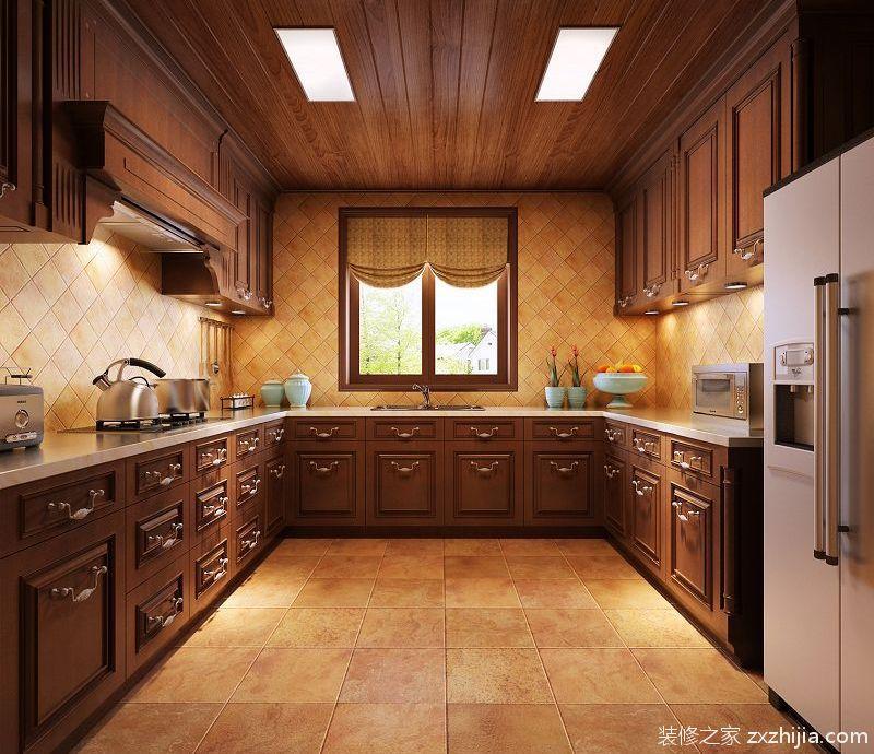 新中式咖啡色古典厨房装修效果图
