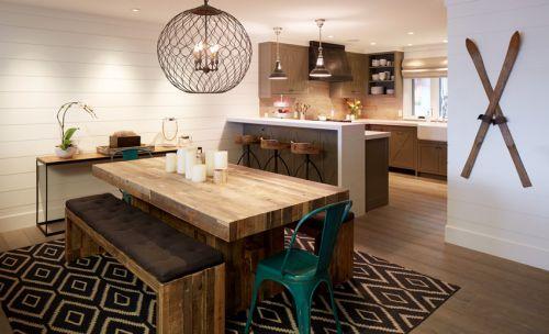 简欧风格原木色一体式厨房装修效果图