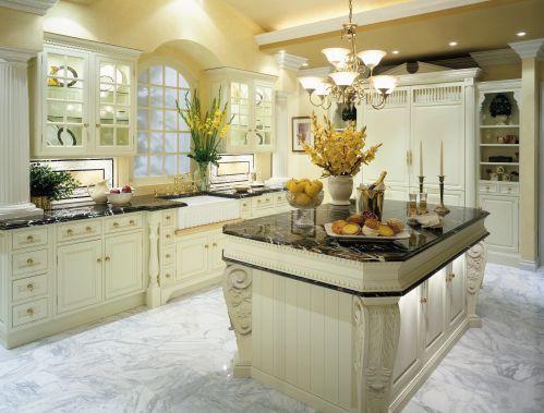 唯美浪漫简欧风格厨房装修设计效果图