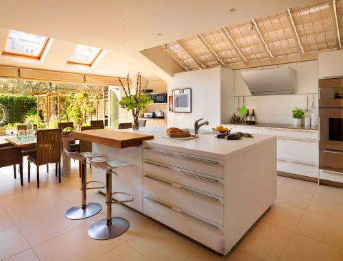 简欧风格白色大厨房吧台设计