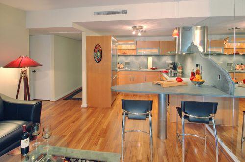 简欧风格三居室原木色厨房装修效果图