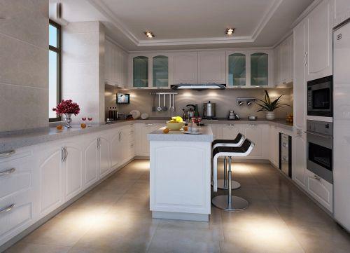 白色优雅简欧风格开放式厨房效果图