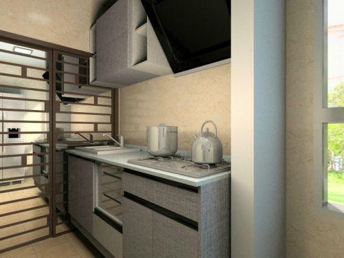 简欧风格二居室厨房橱柜装修效果图欣赏