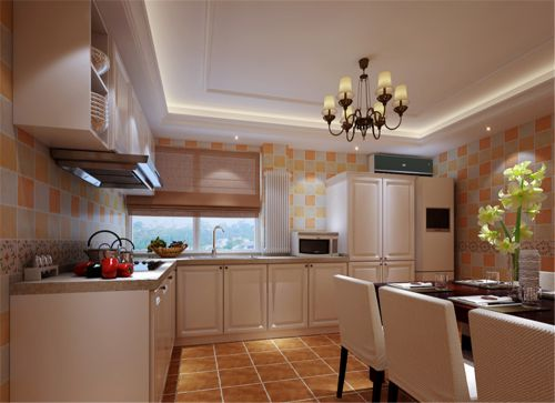 简欧风格四居室厨房灯具装修效果图欣赏