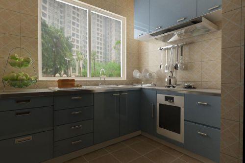 简欧风格三居室厨房橱柜装修图片