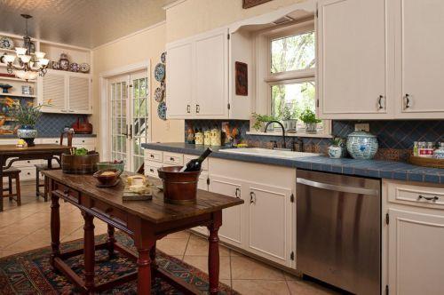简欧124平三居厨房白色橱柜装修效果图