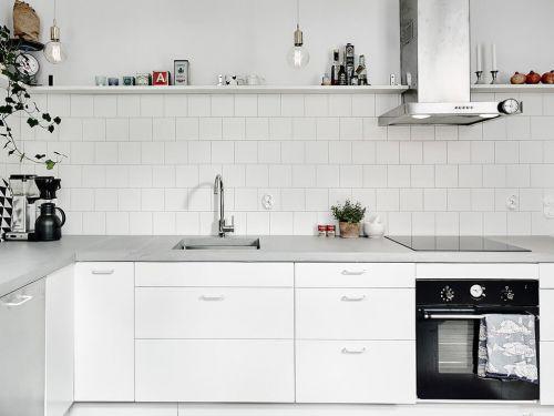 简欧风格白色收纳型厨房装修效果图