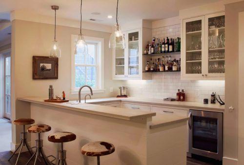 明亮时尚简欧风格白色厨房装修实景图