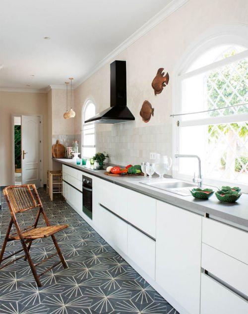 简欧风格明亮温馨一字型厨房效果图
