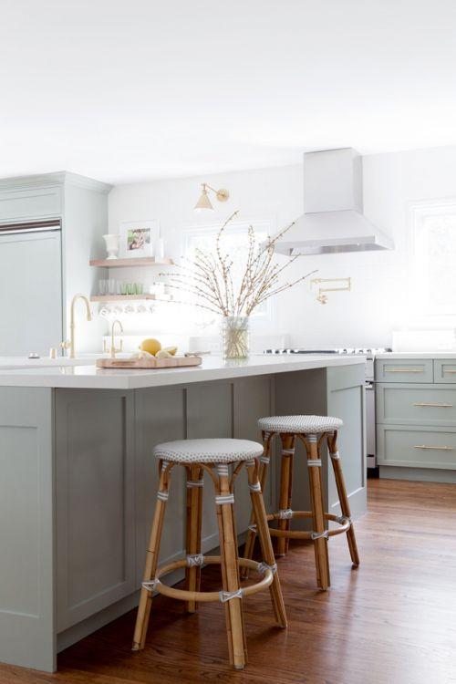 简欧风格开放式清新厨房休闲吧台图片