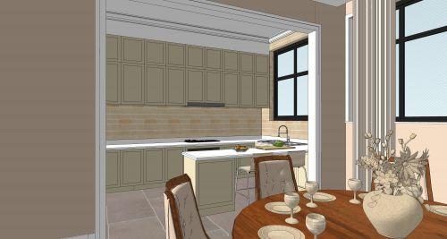 简欧风格别墅厨房吧台装修图片