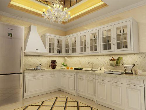 简欧风格三居室厨房组合柜装修图片