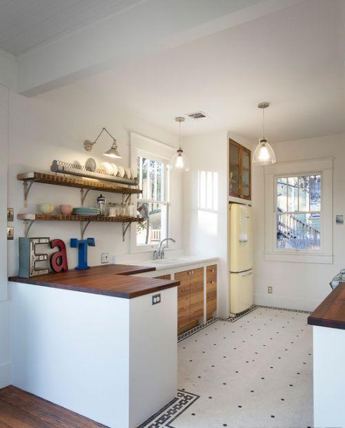 简欧厨房实木搁板置物架效果图