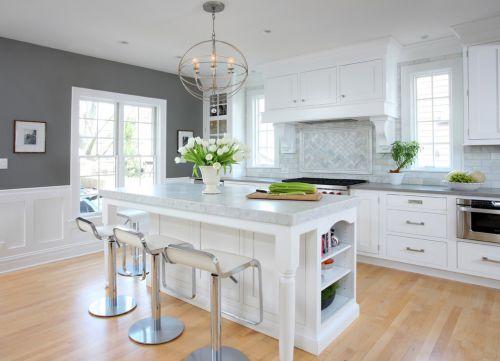 开放式白色简欧厨房效果图