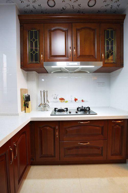L型原木色中式古典整体厨房装修效果图