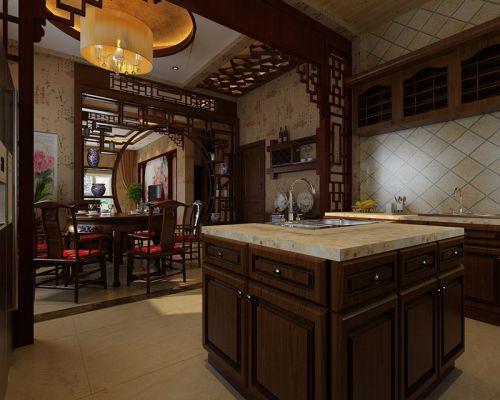 咖啡色带吧台中式古典厨房装修效果图