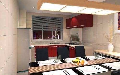 红色温暖中式厨房装修效果图