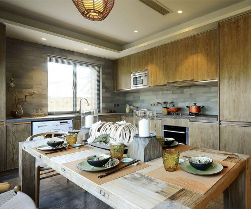 中式风格二居室厨房灶台装修效果图