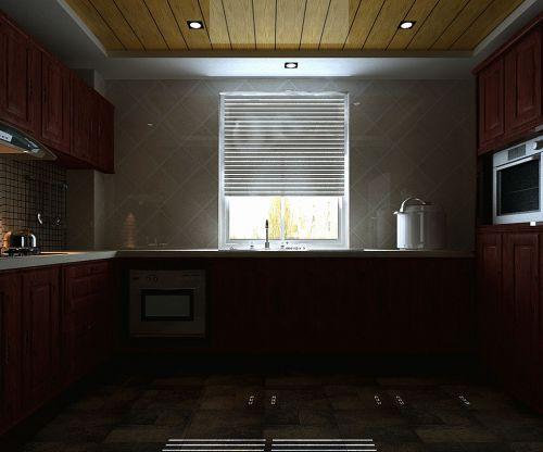 中式风格三居室厨房灶台装修图片