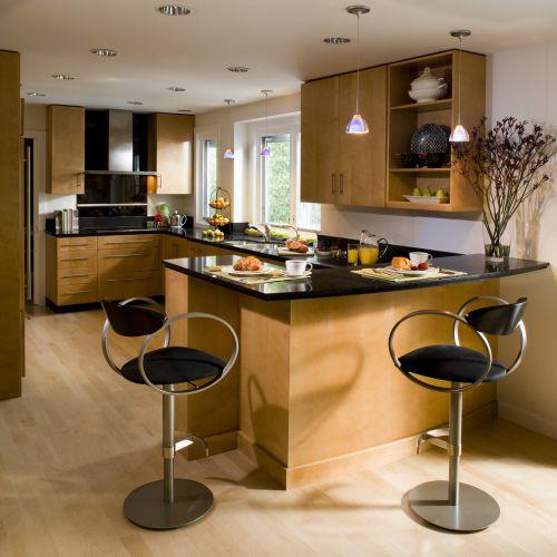 100平中式风格两居厨房黑色吧台装修效果图