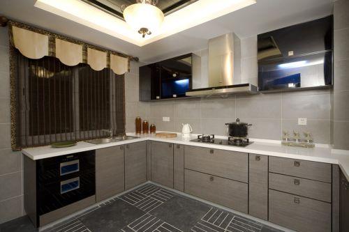 中式风格二居室厨房背景墙装修效果图