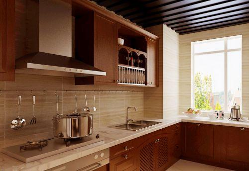 中式古典三居室厨房橱柜装修效果图