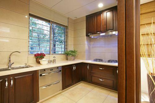 中式古典四居室厨房装修效果图