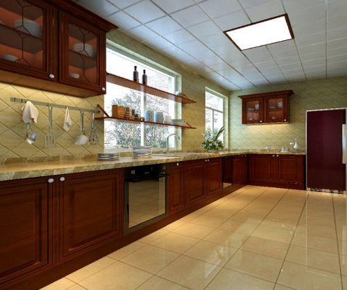 中式古典二居室厨房橱柜装修效果图