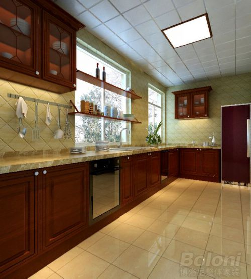 中式古典二居室厨房装修图片