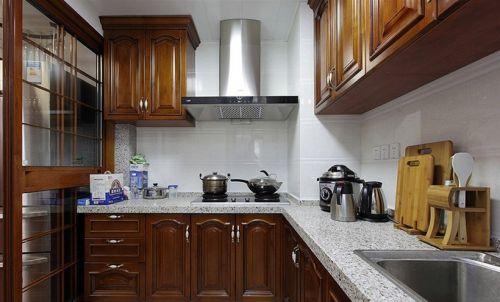 新中式古典原木色三居室厨房效果图