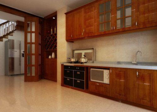 原木色一字型中式古典整体厨房装修效果图
