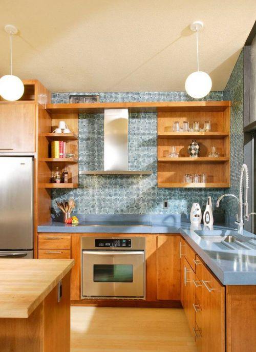 新中式风厨房实木橱柜效果图