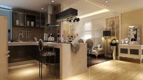 欧式时尚三居室厨房装修效果图