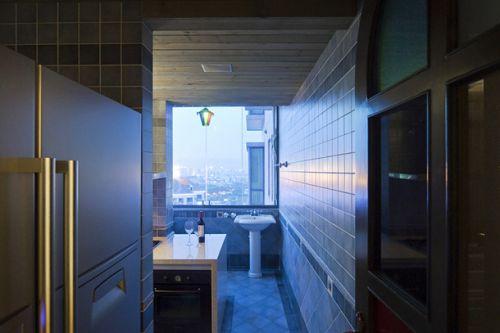 150m2三居室欧式风格厨房吧台设计效果图