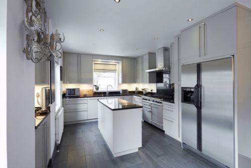 欧式风格优雅白色开放式厨房装修图片