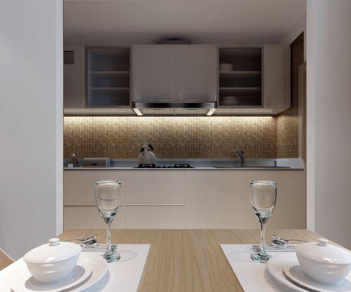 欧式原木色精装厨房装修效果图