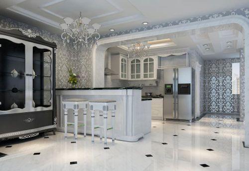 小户型典雅白欧式厨房家装样板间