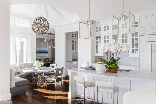 白色欧式风格别墅厨房装修实景图