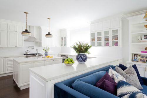 欧式风格洁净大气白色厨房装修实景图