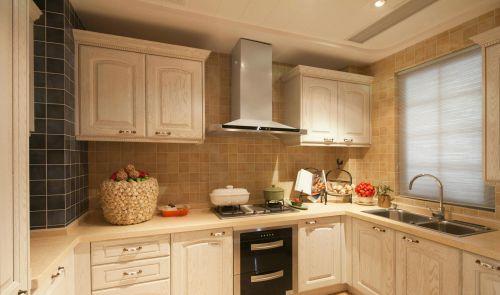 欧式优雅风格白色厨房橱柜装修实景图
