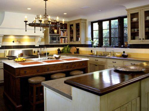 别墅吧台田园风格厨房装修设计