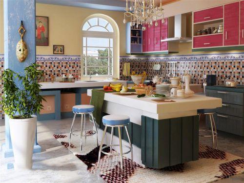 明媚彩色田园风格厨房橱柜组合柜装修
