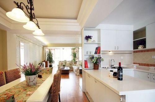 田园风格三居室厨房橱柜装修图片