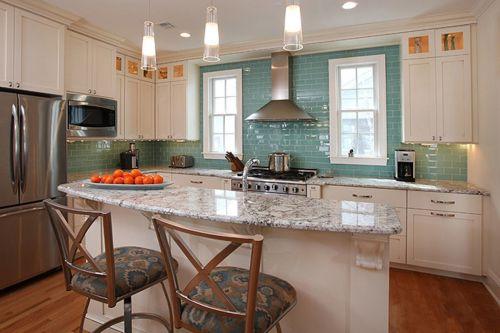 小吧台蓝色风情田园厨房