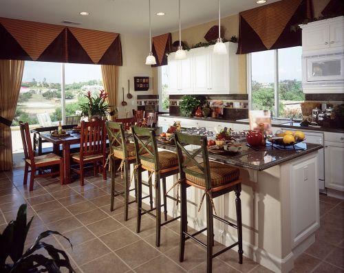 别墅小吧台田园风格厨房装修设计